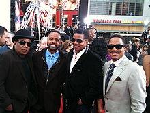 Tito Jackson, Mervyn Warren, Jackie Jackson, and Marlon Jackson at the premiere of Michael Jackson's This Is It